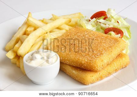 Golden fried bread crumbed cheese.