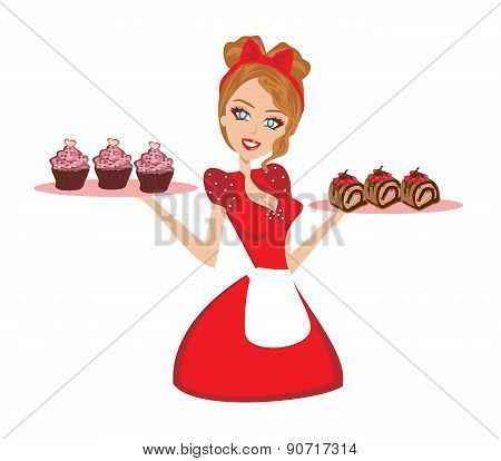 Pin Up Housewife Serving Chocolate Cupcakes