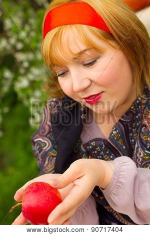Charming Rosy-cheeked Young Woman Dressed In Russian Style With Pavloposadskie Handkerchief On His S