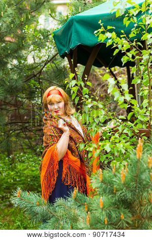 Cheeked Russian Cheerful Young Woman In The Green Of Spring Foliage, With A Scarf Draped Pavlopasads