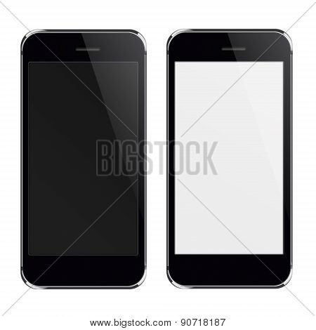 Realistic Mobile Phones With Black And Blank  Screen.