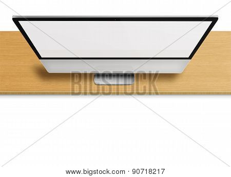 Modern Computer Monitor With Blank Screen.
