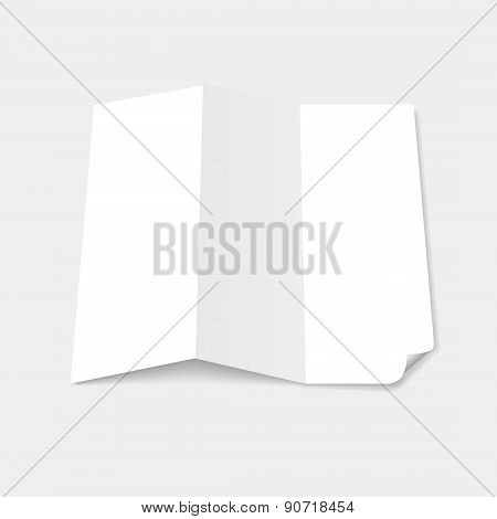 Blank white tri fold brochure template with page curl