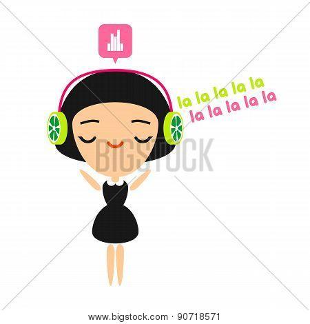 Girl listening to music on her headphones