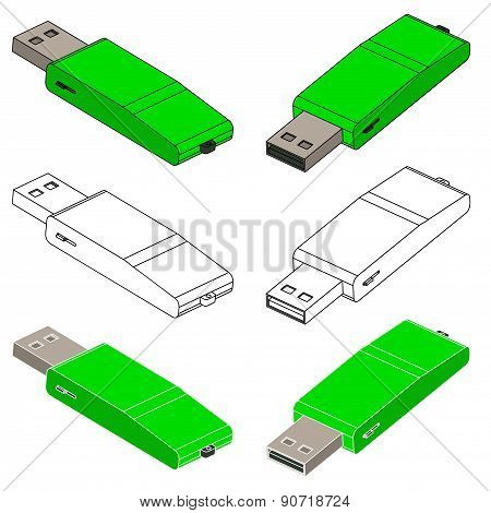 Set Of Green Usb Flash Drive (3D)