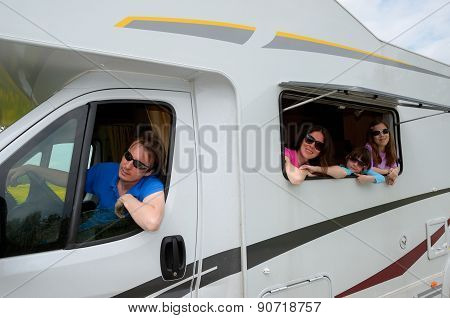 Family vacation, RV (camper) travel with kids, happy parents with children on holiday trip