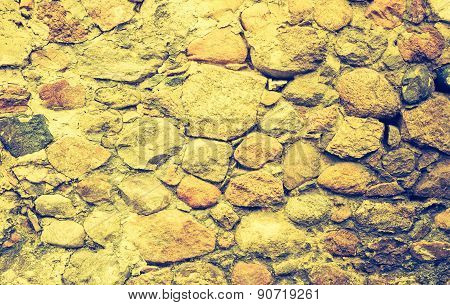 Vintage Photo Of Background Of Stone Wall