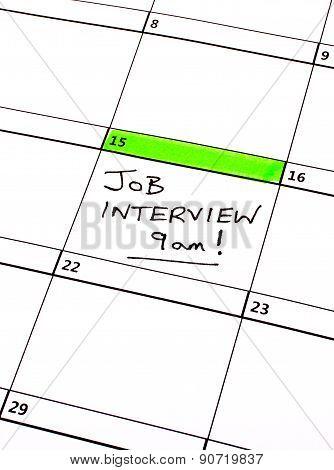 Job Interview Date On A Calendar