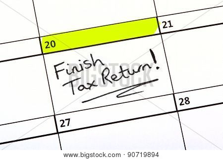 Tax Return Date Written On A Calendar