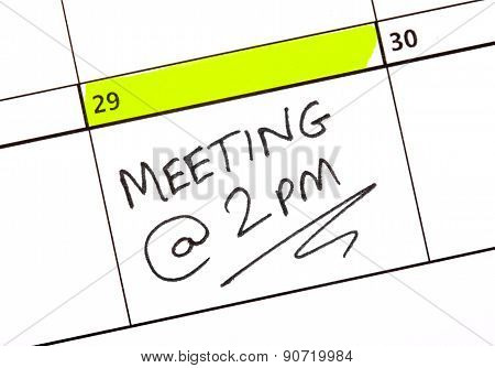 Meeting Date Written On A Calendar