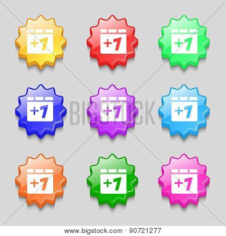 Plus One, Add One Icon Sign. Symbol On Nine Wavy Colourful Buttons. Vector