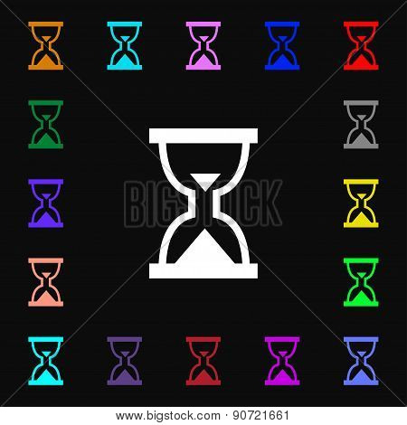 Hourglass, Sand Timer  Icon Sign. Lots Of Colorful Symbols For Your Design. Vector