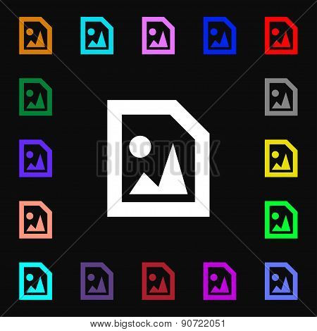 File Jpg  Icon Sign. Lots Of Colorful Symbols For Your Design. Vector