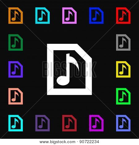 Audio, Mp3 File  Icon Sign. Lots Of Colorful Symbols For Your Design. Vector