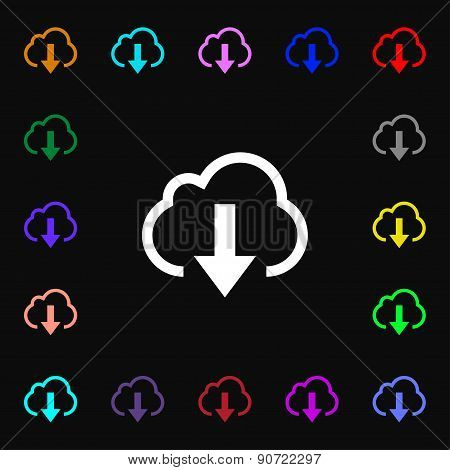 Download From Cloud  Icon Sign. Lots Of Colorful Symbols For Your Design. Vector