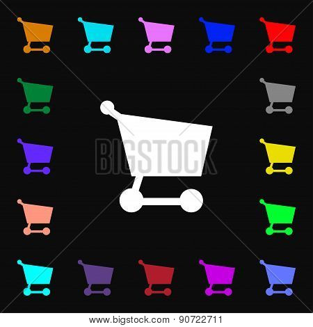 Shopping Basket  Icon Sign. Lots Of Colorful Symbols For Your Design. Vector