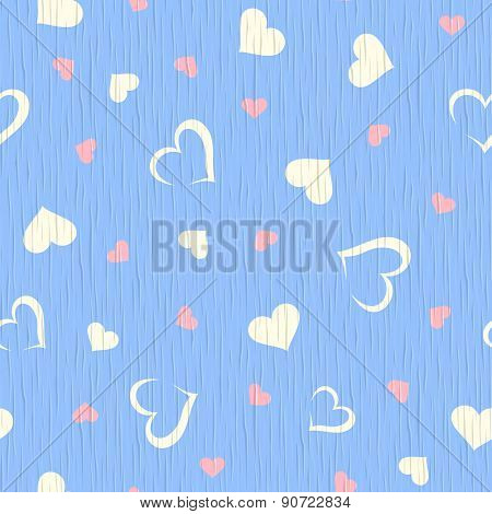 Vector seamless blue wooden texture with hearts pattern.