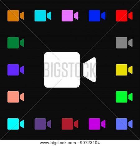 Video Camera  Icon Sign. Lots Of Colorful Symbols For Your Design. Vector
