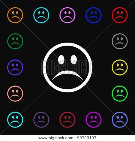 Sad Face, Sadness Depression  Icon Sign. Lots Of Colorful Symbols For Your Design. Vector