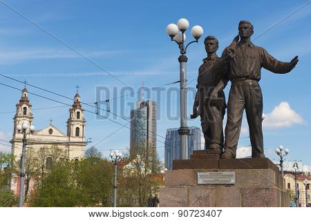 Exterior of the bronze sculpture of workers at the Green Bridge in Vilnius, Lithuania.