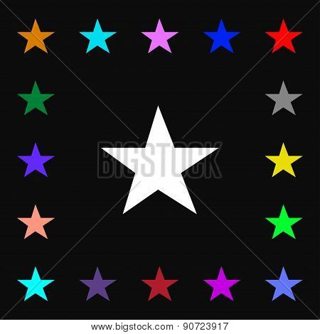 Star, Favorite  Icon Sign. Lots Of Colorful Symbols For Your Design. Vector