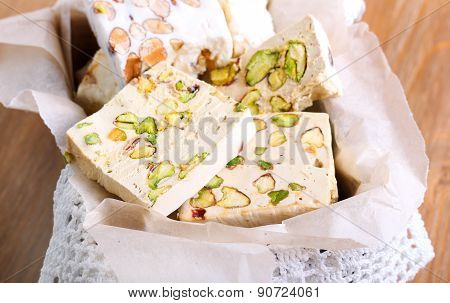 Honey And Different Sorts Of Nut Nougat Slices