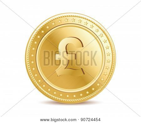 Golden Pound Sterling Coin On The White Background