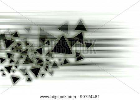 The Black Triangle Moving Fast Over White Background