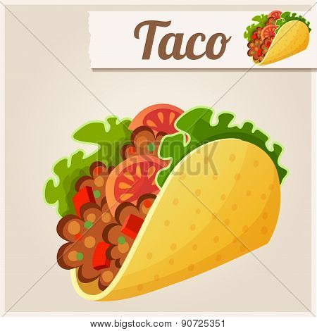 Mexican Taco. Detailed Vector Icon
