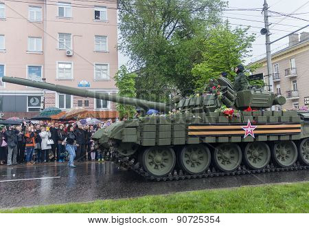 Donetsk, Ukraine - May, 9, 2015: Military Parade in Donetsk People's Republic