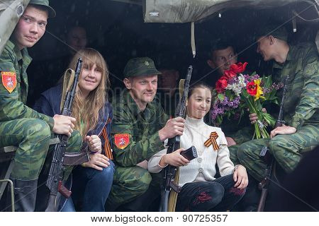 Donetsk - May, 9, 2015: Soldiers Parade Participants And Residents Of The City