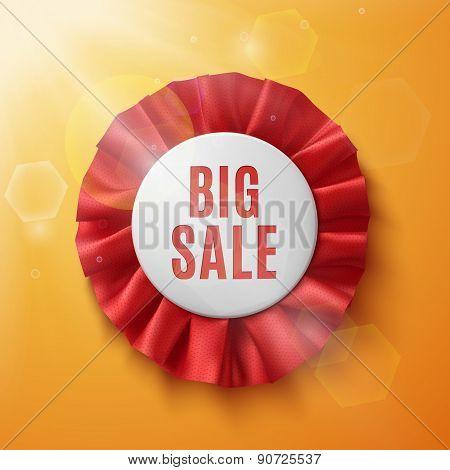 Big sale, realistic red fabric award ribbon.