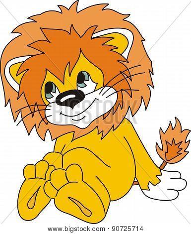 Lion Cub Cartoon In Vector [