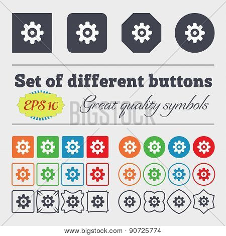 Cog Settings, Cogwheel Gear Mechanism  Icon Sign Big Set Of Colorful, Diverse, High-quality Buttons.