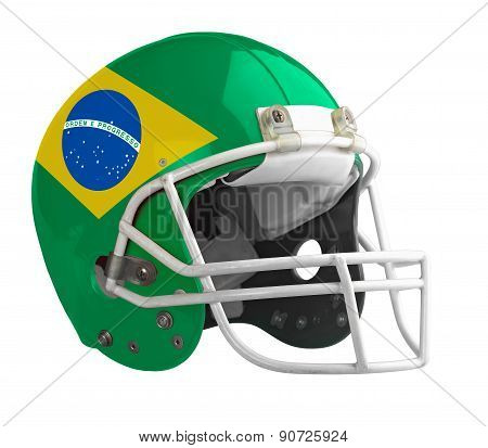 Flagged Brazil American Football Helmet