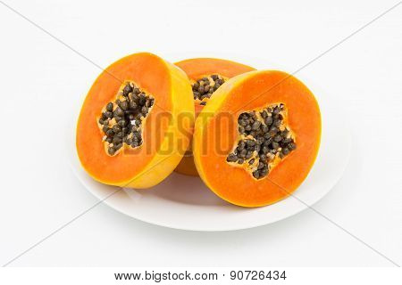 Ripe Papaya In Dish