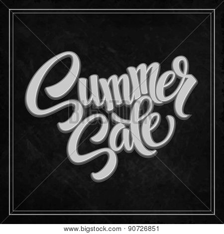 Summer sale. The inscription on the blackboard with chalk. Vector illustration
