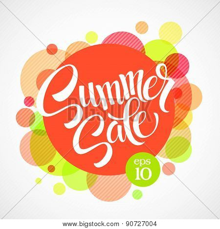 Summer sale. Inscription against the bright background of the circles. Vector illustration