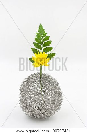 Yellow Flower Bouquet  In Vase On White Background