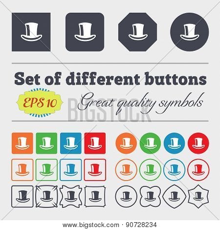 Cylinder Hat  Icon Sign Big Set Of Colorful, Diverse, High-quality Buttons. Vector