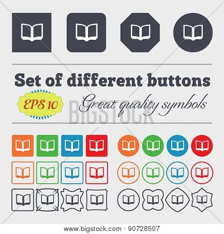 Open Book  Icon Sign Big Set Of Colorful, Diverse, High-quality Buttons. Vector