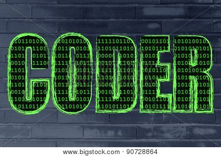 Illustration Of The Word Coder With A Binary Code Pattern