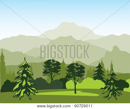 Landscape with wood and mountain