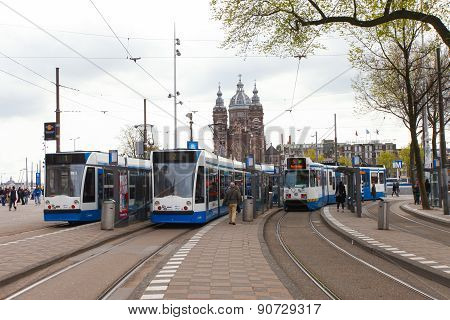 Tram heading to Amsterdam central station