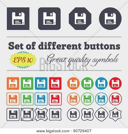 Floppy  Icon Sign Big Set Of Colorful, Diverse, High-quality Buttons. Vector