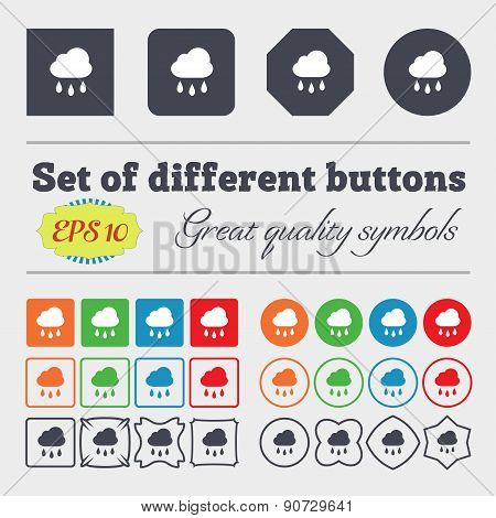 Weather Rain  Icon Sign Big Set Of Colorful, Diverse, High-quality Buttons. Vector