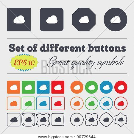Cloud  Icon Sign Big Set Of Colorful, Diverse, High-quality Buttons. Vector