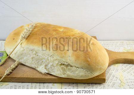 Fresh Hommade Bread On A Cutting Board