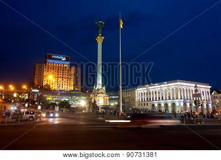 Ukraine, Kiev - September 10,2013: Evening Independence Square