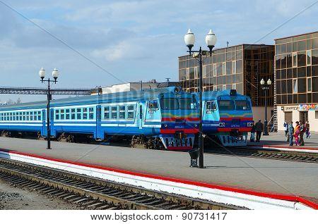 Diesel Trains On Ways Of Train Station, Mogilev, Belarus